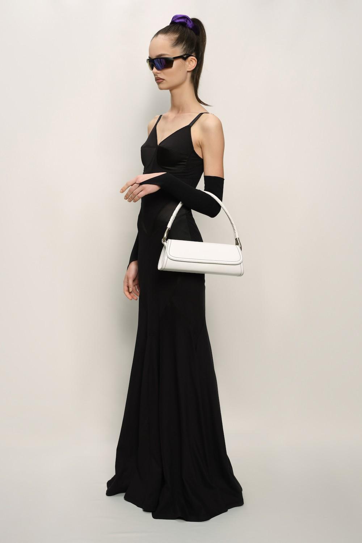 Retro Dress - Cotton Jersey and Silk Satin - Black - long