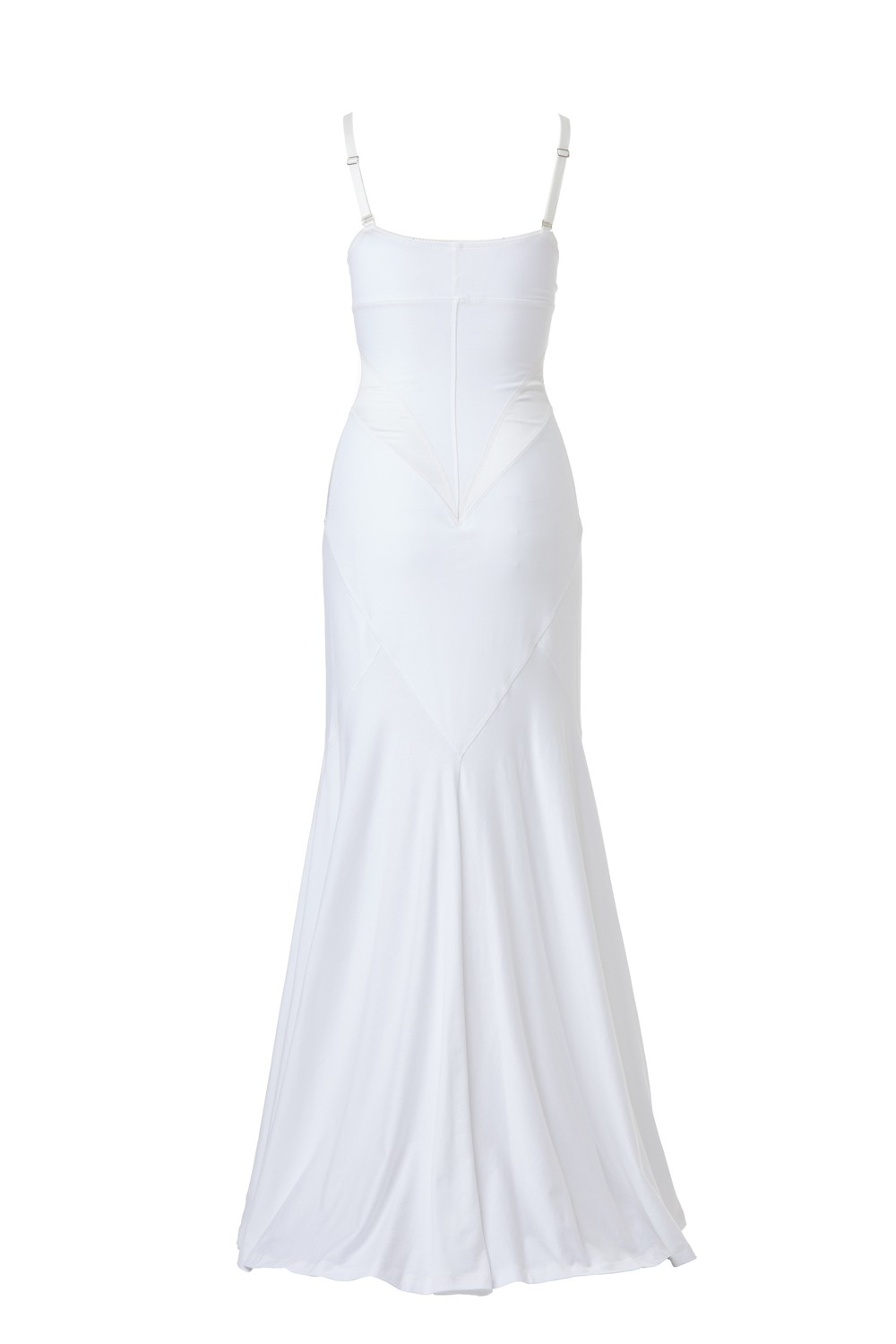 Retro Dress - Cotton Jersey and Silk Satin - White - long