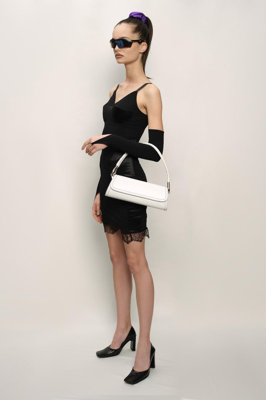 Retro Dress - Cotton Jersey and Silk Satin - Black - short