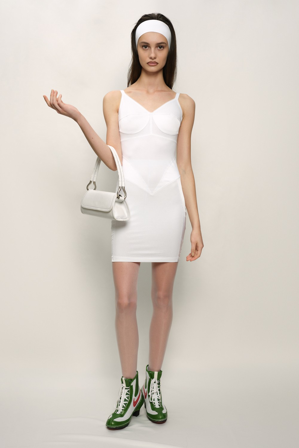 Retro Dress - Cotton Jersey and Silk Satin - White - short