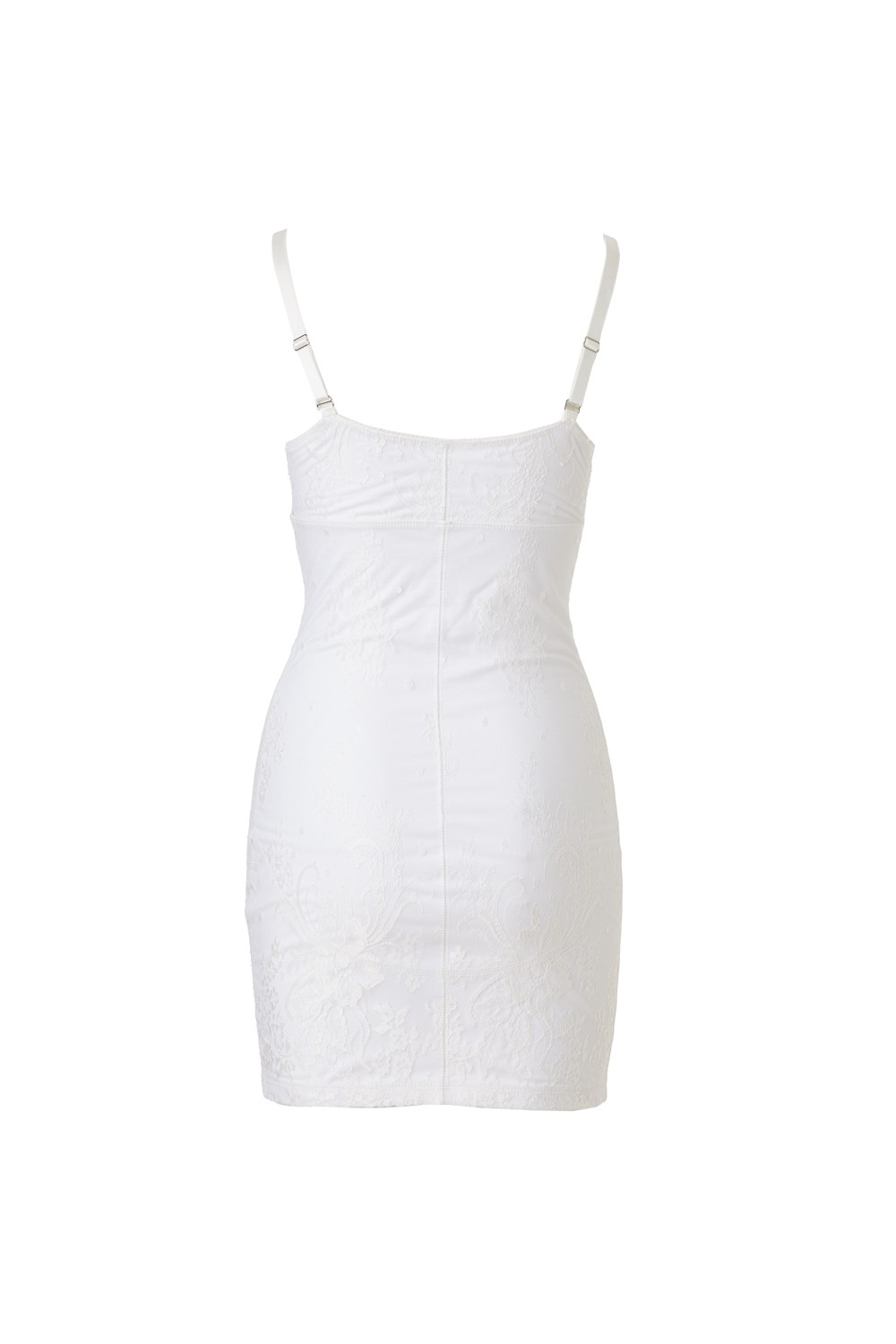 Retro Dress - Cotton Jersey and Silk Satin - Short - white - lace