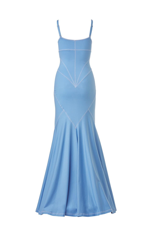 Retro Dress - Cotton Jersey and Silk Satin - Blue - long