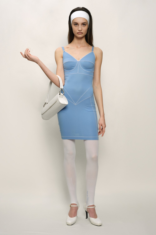 Retro Dress - Cotton Jersey and Silk Satin - Blue - short