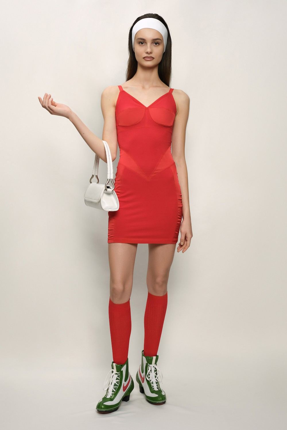 Retro Dress - Cotton Jersey and Silk Satin - Red- short
