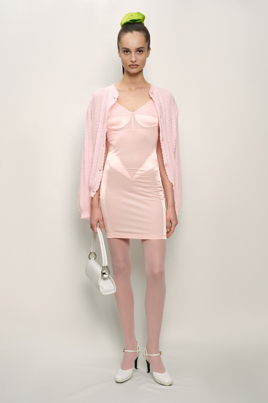 Retro Dress - Cotton Jersey and Silk Satin - Pink - short
