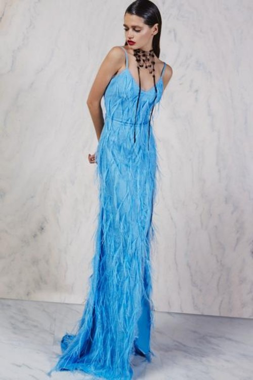 Long dress with lace and feathers